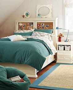 Like head board design fabric instead of a pin board and shelves built in at the side