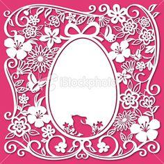 Easter Egg Papercut Art - Stock illustration