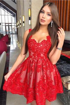 Tight Short Red Lace Homecoming Dresses For Teens Cocktail Dresses Z1247