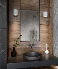 Modern Marble Bathroom, Dark Wood Bathroom, Modern Luxury Bathroom, Minimalist Bathroom Design, Dark Bathrooms, Bathroom Design Luxury, Bathroom Lighting Design, Bathroom Styling, Scandinavian Bathroom Design Ideas
