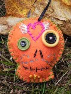 Sugar Skull Ornament, orange