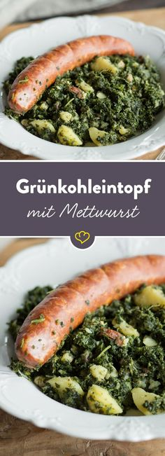 Deftiger Grünkohl mit herzhafter Mettwurst - ein Klassiker, der einfach immer schmeckt und so richtig wohlig satt macht. Hier geht's zum Rezept.