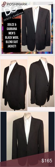 DOLCE & GABBANA Men's Black Wool Blend Suit Jacket DOLCE & GABBANA Men's Black Wool Blend Suit Jacket! Features: 100% authentic, handsome two button design, black wool blend material, long sleeve & two button front. Made in Italy. European tag size 54= 44 US. See tag for details. Good condition. No holes, rips or damage. Needs a light press. Offers welcome. Dolce & Gabbana Jackets & Coats