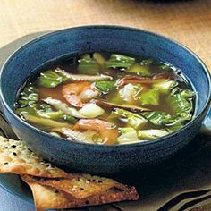 This simple clear soup featuring mushrooms, bok choy, and shrimp is a speedy supper option. Serve with gourmet crackers for a light meal.
