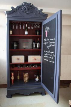 15 Best Armoire Bar Ideas Ever – Modern Home Refurbished Furniture, Paint Furniture, Repurposed Furniture, Furniture Projects, Furniture Making, Furniture Makeover, Diy Projects, Decoupage Furniture, Furniture Online