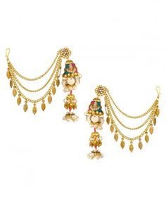 Jhumka Earrings with Knot Embroidery - Dhanteras Special - Metallic Trend - Indian Ethnic Fashion - Jewelry Shopping - Buy Indian Wear and Jewelry Online - Designer Jewelry - Indian Designer Wear - Shop Ethnic Wear Fashion from Indian at #ExclusivelyIn - Celebrate Diwali Festival