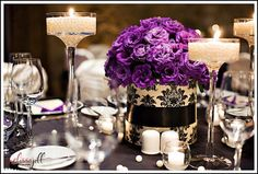 Wedding, Purple, Centerpieces