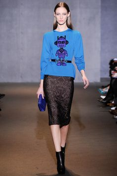 Andrew Gn   Fall 2014 fun sweatshirt with a quietly textural skirt.