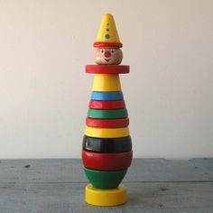 Wooden Brio Clown Toy von SwitchbladeandCookie auf Etsy, $23.00