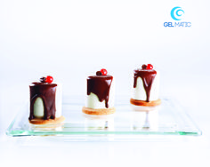 GELATO CAKE FILLED WITH COFFEE: egg custard express gelato cake on puff pastry base and filled with coffee ganache.