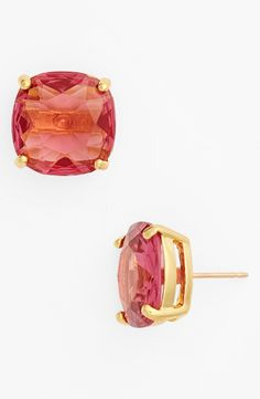 On the list of favorites | Pink and gold Kate Spade small square stud earrings.