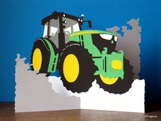 Tractor Gifts, Farming, Tractor, Pop Up Card, Birthday Card, Christmas Card, Valentines Day Card, Fathers Day Card, Yellow & Green Tractor