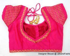 Readymade Golden Designer Saree Blouse back by JahanviFashionShop