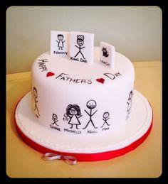 Stickman Dad cake Hand painted stick figures of family members. Birthday Cake For Father, Dad Birthday Cakes, Fathers Day Cake, Engagement Cake Design, Engagement Cakes, Doodle Cake, Happy Anniversary Cakes, Teen Cakes, Dad Cake