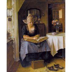 Alois Heinrich Priechenfried Woman in Dutch Costume Reading in an Interior