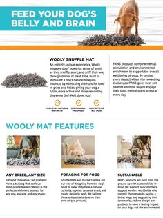 """Amazon.com: Wooly Snuffle Mat - Feeding Mat for Dogs (12"""" x 18"""") - Grey Feeding Mat - Encourages Natural Foraging Skills - Easy to Fill - Fun to Use Design - Durable and Machine Washable - Perfect for Any Breed: Pet Supplies"""