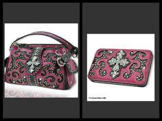 Pink Western Handbag Wallet Set Rhinestones Cross Bling Handbag Purse Bag | eBay