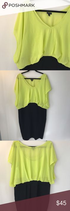 NWOT Neon Yellow Chiffon Dress Plus size has never been sexier in this fun neon yellow dress! torrid Dresses