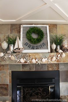 DIY Stunning Year Round Coastal Shell Garland ! Perfect To use on Mantle or anywhere in Home & is Beautiful With All Holiday Decor !