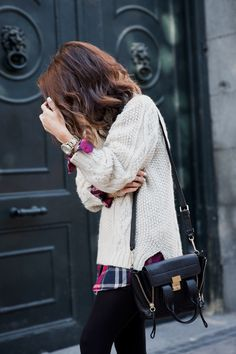 <3 Outfit: Cable Knit Jumper, Plaid Shirt, Leather Shorts+Bag