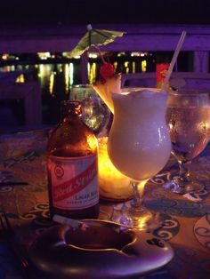 Montego Bay, Jamaica...favorite honeymoon drinks!  (if only that cig wasen't ruining this pic!)