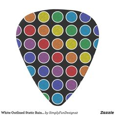 White Outlined Static Rainbow Polka Dots Guitar Pick