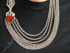 Pianegonda-VERITAS-Carnelian-Sterling-Silver-7-Strand-Chain-Link-Necklace