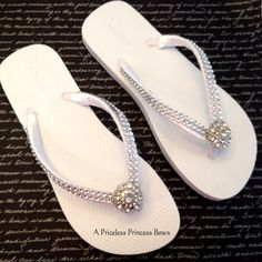 White Wedding Flip Flops Womens Prom  Bridal by APricelessPrincess, $29.95