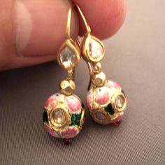 """22ct gold, enamel, diamonds, India   Description  A beautiful old pair of earrings """"Moghul style"""" from the holy city of Hinduism, Varanasi in Uttar Pradesh ...   Weight:2 x 3,3gr  Height:1,29inch www.halter-ethnic.com...see """"My Lucky Finds"""""""