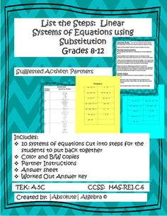 Systems of equations flip book answers