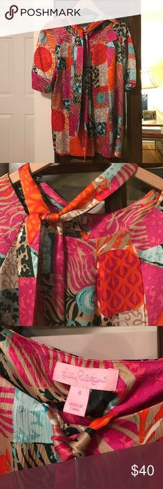 Lilly Putlizer Printed Silk Top Perfect Condition. Worn once. Separate sash can be worn as Scarf tie or around waist like a belt. 100% silk. Lilly Pulitzer Tops Blouses