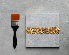Blattgold Malerei, Abstrakt, Acrylmalerei, 20x20x1,5cm, Original Gemälde, Strukturbilder, #49, Spachtelmaße, Gold, Acrylmalerei,