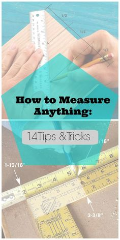 14 Measuring Tips & Techniques for DIYers ... Add Fractions Fast ... adding 1-13/16 in. to 3-3/8 in. (or any other fractions) doesn't have to hurt. Just line up two rulers or tape measures side by side & read the answer instantly, with complete accuracy. It works for subtraction, too—just read the numbers in the other direction ........... #DIY #tools #measure #howto #tips #ruler #square #tricks #crafts #sewing