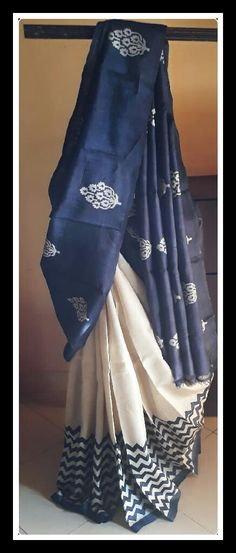 Tusser silk sareey in blue and half white combination Price Order what's app 7093235052 Elegant Designer Saree Click Visit link for Indian Silk Sarees, Ethnic Sarees, Tussar Silk Saree, Cotton Saree, Ethnic Outfits, Indian Outfits, Saris, Indian Attire, Indian Wear