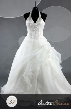 Sleeveless A-line Floor-length White V-neck & Halter Wedding Gowns Style Code: 06482