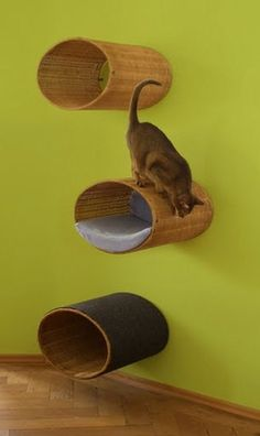 Modern cat scratcher Rondo, a unique cat condo tree and cat home. Bb Chat, Cat Perch, Cat Shelves, Cat Cave, Cat Enclosure, Cat Playground, Cat Scratcher, Cat Room, Cat Condo