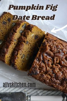 This bread is dense. But, it's not 'heavy'. This bread is 'sweet' But it's not overly gooey sweet. This bread has rich beautiful hues and varying texturing. #easypumpkinbread #pumpkinbreadrecipe Homemade Desserts, Easy Desserts, Delicious Desserts, Dessert Recipes, Fig Bread, Date Nut Bread, My Favorite Food, Favorite Recipes, Sweet Recipes