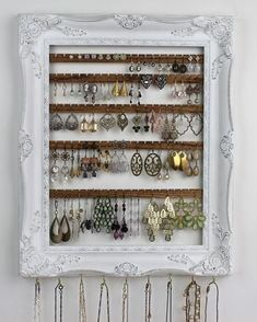 Distressed White Jewelry Organizer, Wall Hanging Earring Organization, Jewelry H . - Distressed White Jewelry Organizer, Wall Hanging Earring Organization, Jewelry H … – Distressed - Diy Jewelry Unique, Diy Jewelry To Sell, Diy Jewelry Holder, Hanging Jewelry Organizer, Jewelry Hanger, Hang Jewelry On Wall, Jewelry Making, Jewelry Crafts, Jewelry Box