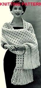 Vintage Knitting Pattern, Shawl, Measures approx. 20x66