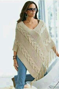 Poncho made to order hand knit cardigan, jacket, poncho with sleeves - stricken - Knitting Ideas Poncho Knitting Patterns, Crochet Poncho, Knitted Shawls, Knit Patterns, Hand Knitting, Sweaters Knitted, Knitted Blankets, Knitting Designs, Knitting Stitches