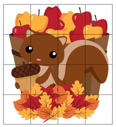 Print this cute squirrel puzzle for kids to put together. Preschool First Day, Fall Preschool Activities, Preschool Art, Autumn Crafts, Fall Crafts For Kids, Math For Kids, Puzzles For Kids, Daycare Themes, Tree Study