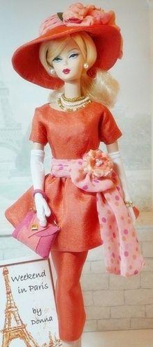 Barbie in Pink and Orange . Play Barbie, Barbie I, Vintage Barbie Dolls, Barbie World, Barbie Dress, Barbie And Ken, Barbie Clothes, Barbies Dolls, Barbie Outfits