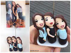 Best friend gift Custom portrait polymer clay Photo holder