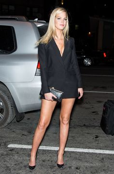Erin Heatherton in a mini tuxedo dress