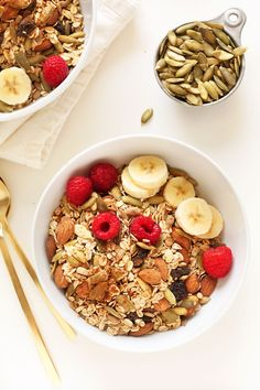 Easy, 20-minute toasted pumpkin muesli with pumpkin pie spice and pumpkin seeds for a fall flavor infusion. A hearty, healthy breakfast or snack.