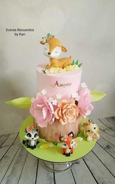 Fondant Flower Cake, Cupcake Cakes, Fondant Bow, 3d Cakes, Fondant Tutorial, Fondant Cakes, Baby Girl 1st Birthday, First Birthday Cakes, Fox Cake