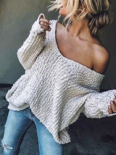 Chicnico Off Shoulder Loose Sweater Cute, casual off the shoulder sweater. Chicnico Off Shoulder Loose Sweater Cute, casual off the shoulder sweater. Sweater Outfits, Fall Outfits, Cute Outfits, Casual Outfits, Emo Outfits, Loose Sweater, Long Sleeve Sweater, Off Shoulder Sweater, Tunic Sweater