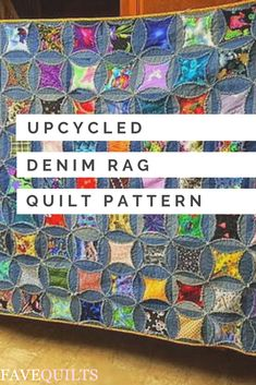 Refashion all of your old blue jeans into this Upcycled Denim Rag Quilt! This rag quilt pattern has frayed seams and is made of scraps of denim and colorful fabrics to create an upbeat quilting design with a homemade feel. Denim Quilts, Denim Quilt Patterns, Blue Jean Quilts, Bag Patterns, Patchwork Jeans, Cathedral Window Quilts, Cathedral Windows, Denim Scraps, Patchwork Quilting