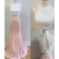 Round neck with cut out shoulder , keyhole back and pearls detail finished its stunning crop top . Mermaid pink skirt creates its sexy look $217