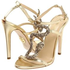 Roberto Cavalli Serpent Sandal ($573) ❤ liked on Polyvore featuring shoes, sandals, heels, sapatos, zapatos, ankle strap heel sandals, leather shoes, leather ankle strap sandals, snake sandals and sexy high heel sandals
